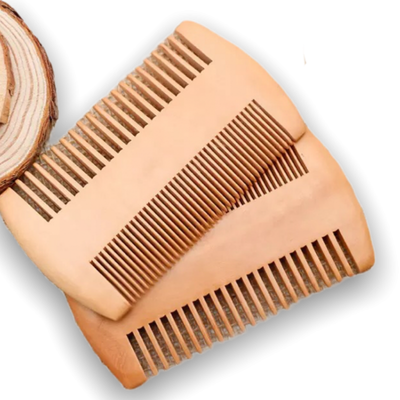 Wooden beard hair comb