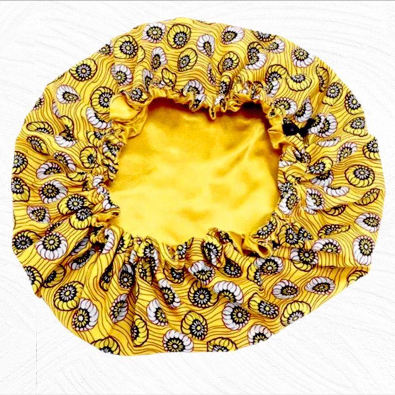 Yellow African print satin-lined hair bonnet - Creative Alia